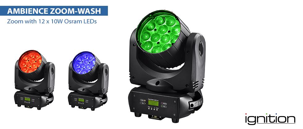LED Contour Ambiance Wash 12 x 10W Osram RGBW LEDs Zoom  10°- 60°