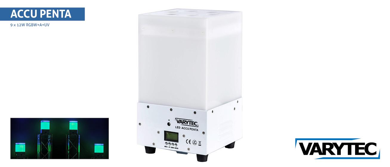 Accu Penta 9 x 12Watt  RGBAWU avec Remote