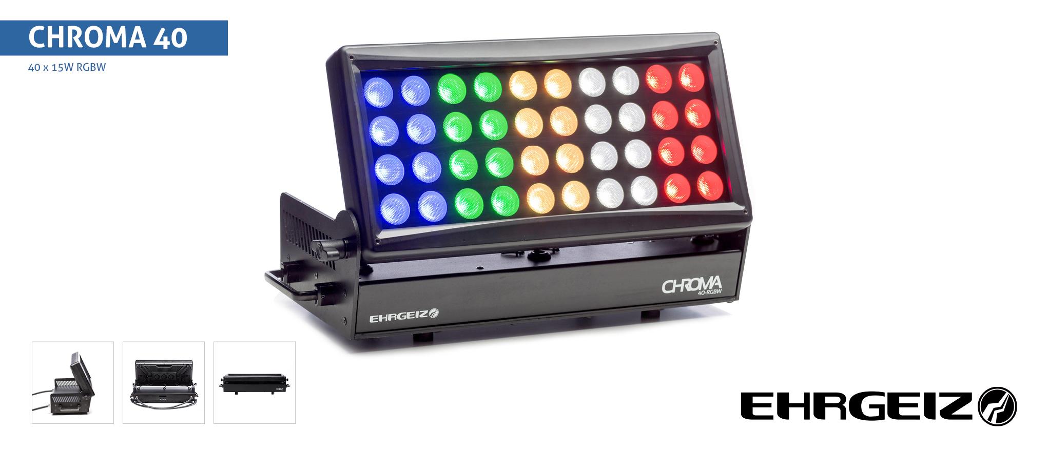 EHRGEIZ  LED Chroma 40 RGBW  40 x 15W  RGBW  Ouverture 43°