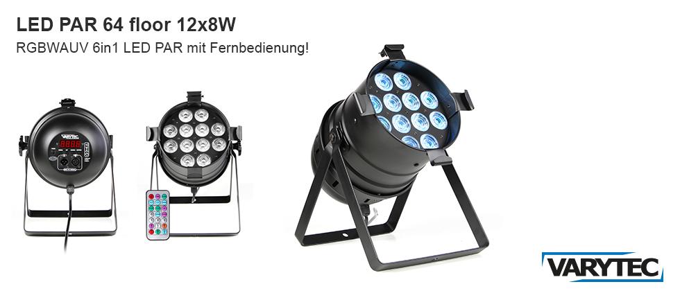 LED PAR 64 floor 12x8W RGBWAUV inkl. Fernbedienung