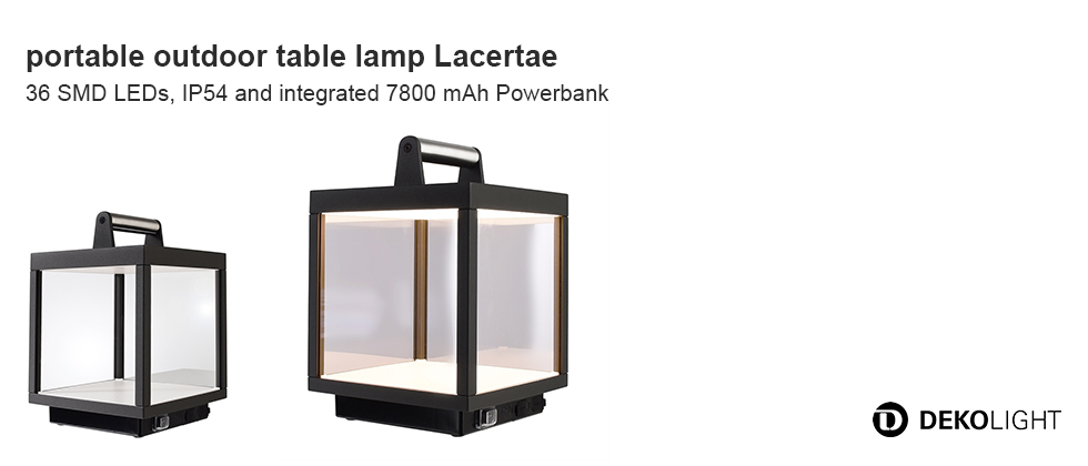 Table lamp Lacertae USB 5W WW IP54 dunkelgrau